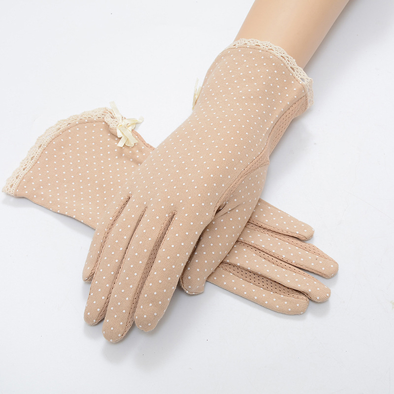 1 Pair New Pure Cotton Polka Dot Lace Sunscreen Gloves Women's Driving Slip-resistant Gloves Summer Female Sun Protection Gloves
