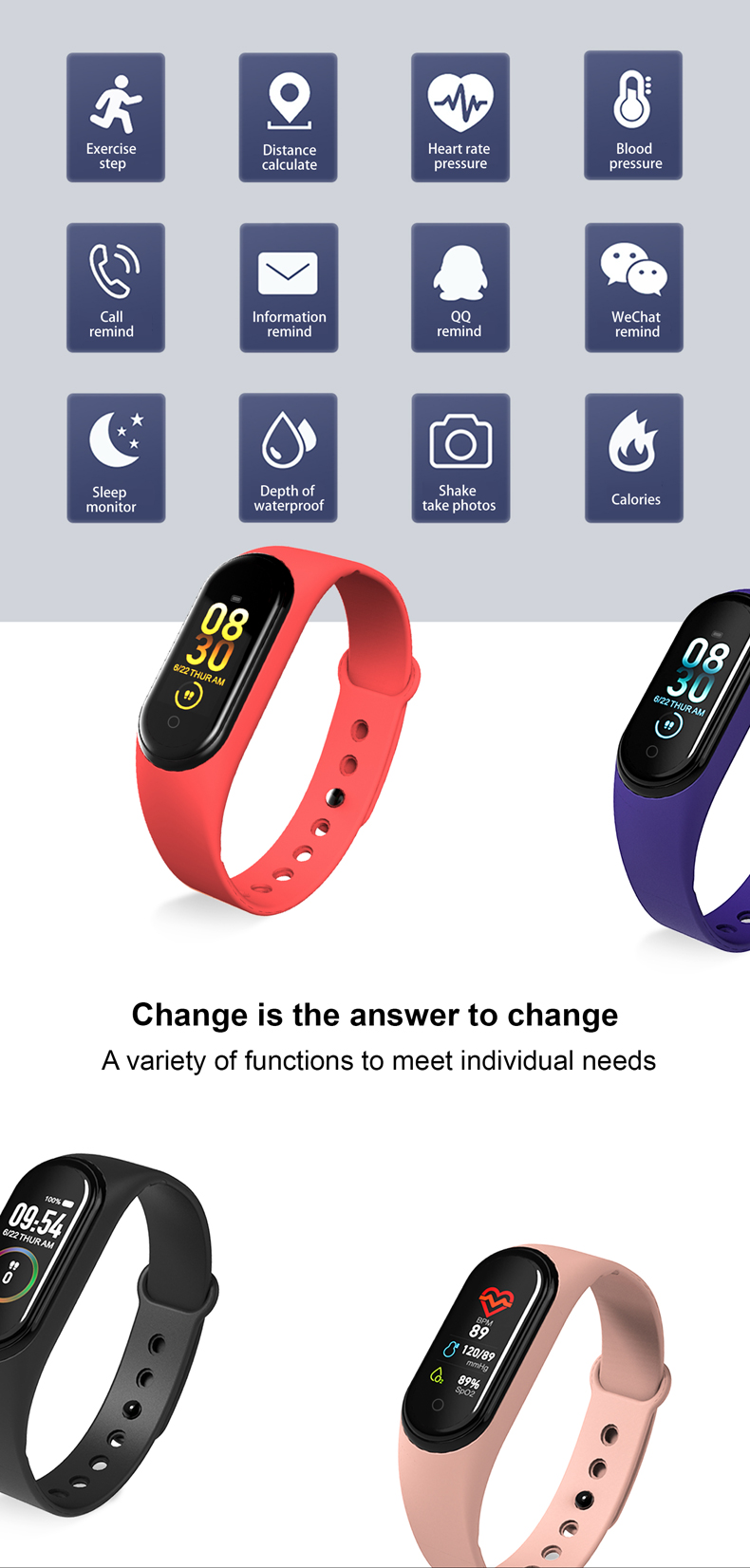 H615e7c087bf54ae488edaa75b4733dccZ M4 Color Screen Smart Wristband Heart Rate Monitor Fitness Activity Tracker Smart Band Blood Pressure Music Remote Control