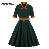 Dark Green Winter Autumn Women 50s 60s Retro Vintage Robe Rockabilly Dresses Plus Size Casual Winter Midi Dresses