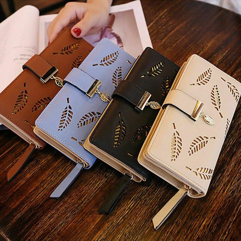 2020 New Women Lady Clutch PU Leather Leaf Wallet Long Card Holder Phone Case Purse Handbag Hot 1