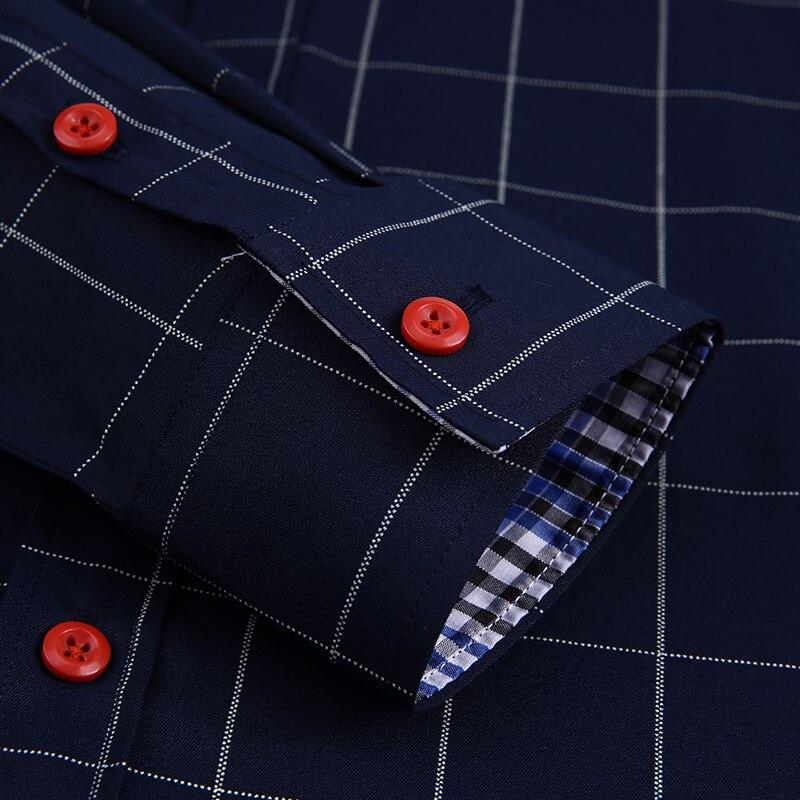 Handsome Fashion Men Shirts Casual Long Sleeved Plaid Shirt Regular Fit Male Blouse 4XL 5XL 6