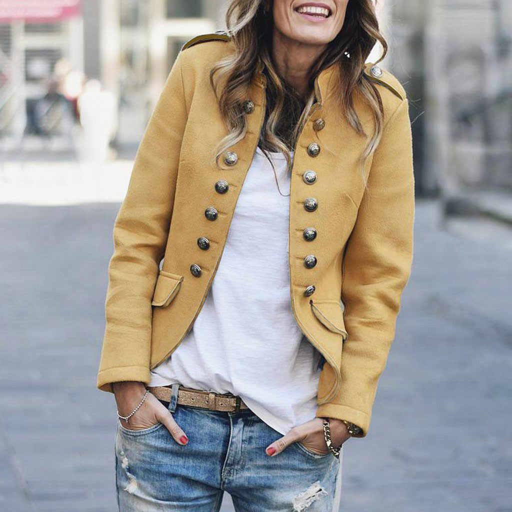 2020 新女性の基本的なジャケットレディースレディースレトロボタンポケット爆撃機ジャケットカジュアルコート生き抜くオフィス女性コート # h