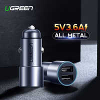 Ugreen 5V 3.6A Metal Dual USB Car Charger for iPhone X 8 7 XS Xiaomi mi9 Samsung S8 S9 Fast Universal Car Mobile Phone Charger