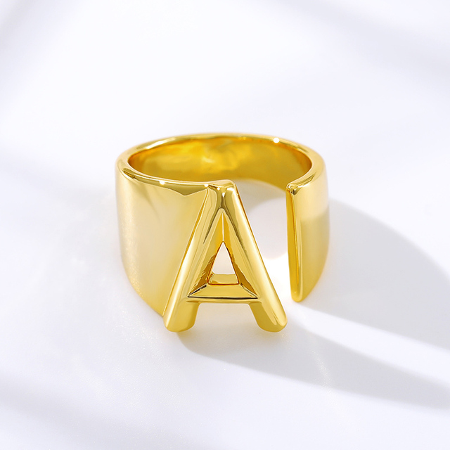 Adjustable A-Z Letter Ring For Women Gold Metal Opening Ring Initials Name Alphabet Female Party Fashion Jewelry Gift For Her 1