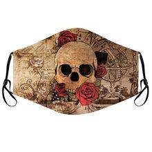 Masque de protection unisexe pour adultes, imprimé tête de mort, Rose, coupe-vent, Anti-poussière, lavable, ajustable, Mondkapjes
