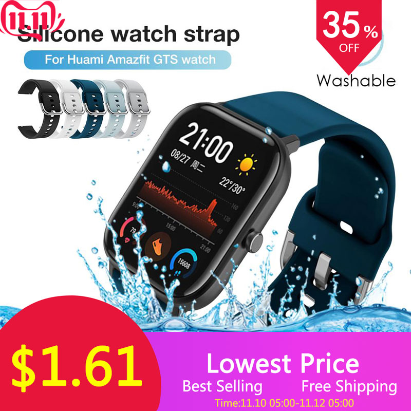 Silicone  Watch Bands Replacement  Sport  Watch Wristbands Straps Bracelet  For Huami Amazfit GTS Watch Accessories