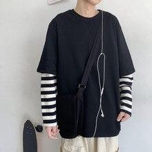 Autumn New Hoodies Men Fashion Striped Stitching Casual Fake Two-piece Sweatshirt Man Streetwear Loose Hip Hop Hoodie M-2XL