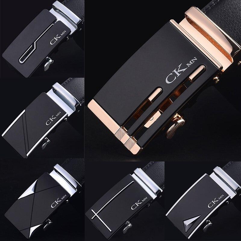 Ремень CKMN мужской из натуральной кожи, модный роскошный Простой деловой пояс с автоматической пряжкой из сплава, чёрный