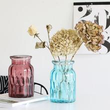 Dry Flower Vase Hydroponic Plants Vase Transparent Gradient Color Glass Vase Glass Flower Pot Home Living Room Table Decoration