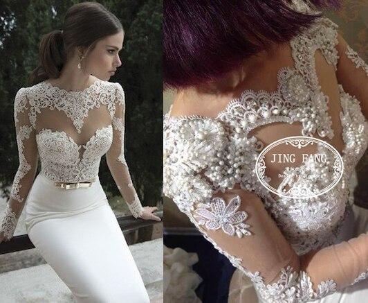 Casamento Romantic Sexy Fashion Pearls Long Sleeve Vestido De Novia Lace Mermaid Wedding Dress 2015 Bridal Gown Free Shipping