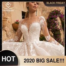 Женское свадебное платье со шлейфом Swanskirt, ТРАПЕЦИЕВИДНОЕ ПЛАТЬЕ ПРИНЦЕССЫ со шлейфом и длинными рукавами, модель N102, 2020