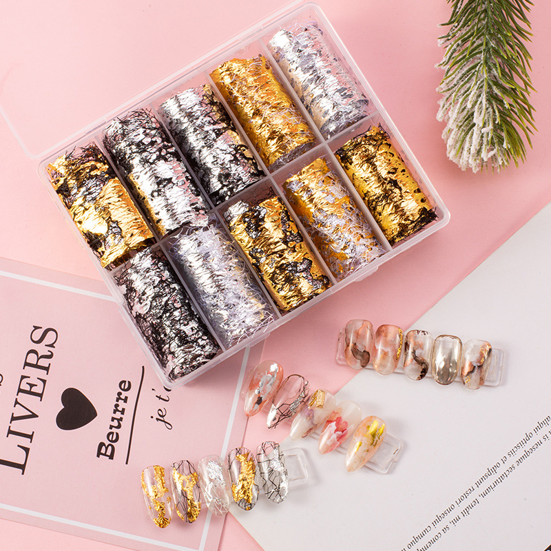 Nail Decoration Style Japanese Nail Gold Foil Net Star Paper Japanese Manicure Gold Leaf Fragment Manicure Charm Jewelry