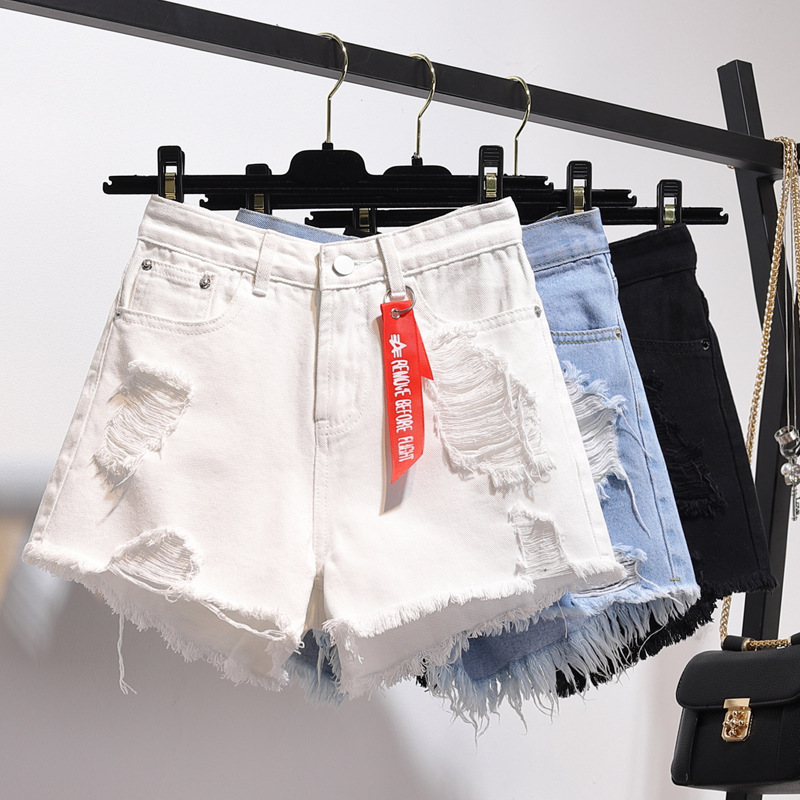 Summer High Waist Denim Shorts Women Korean Solid Cuffed Tassels Ripped Holes Blue Femme Jeans Shorts Sexy Club Hot Shorts