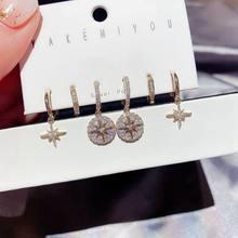 Moda kübik zirkon yıldız küpe seti 6 adet geometrik yuvarlak küçük Hoop küpe seti s kadınlar için Punk takı hediye