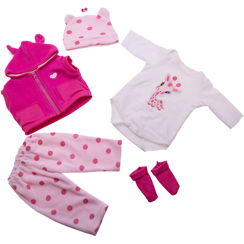 Casual Two Sizes 45 Or 60CM Pink Doll Clothes Reborn Baby Doll Clothes High Quality Corton Clothing Doll Accessories