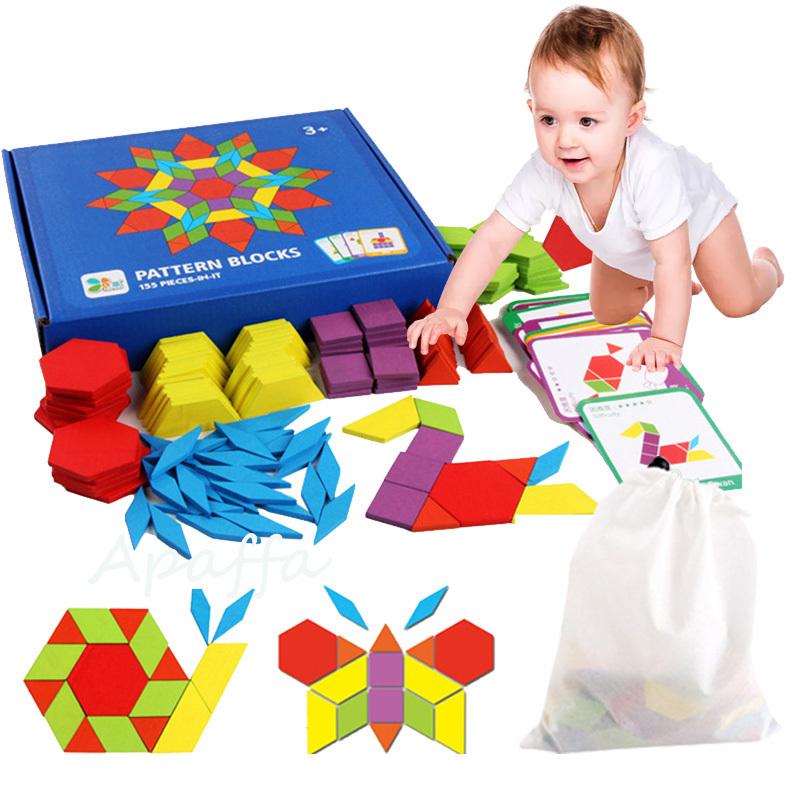 155pcs 3d Wooden Jigsaw Puzzle Early Childhood Education Geometric Tangram Wooden Game Toys for Children Montessori LearningPuzzles   -