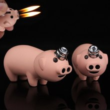 цена на Butane Gas Lighter Double fire Refillable Gas Lighters Creative Pink Piggy Cigarette Lighter