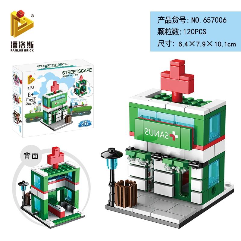 Mini Lego City Street View Block Retail Store Restaurant DIY Building Blocks Compatible lego technic Tech Building kids Toys - Цвет: 657006
