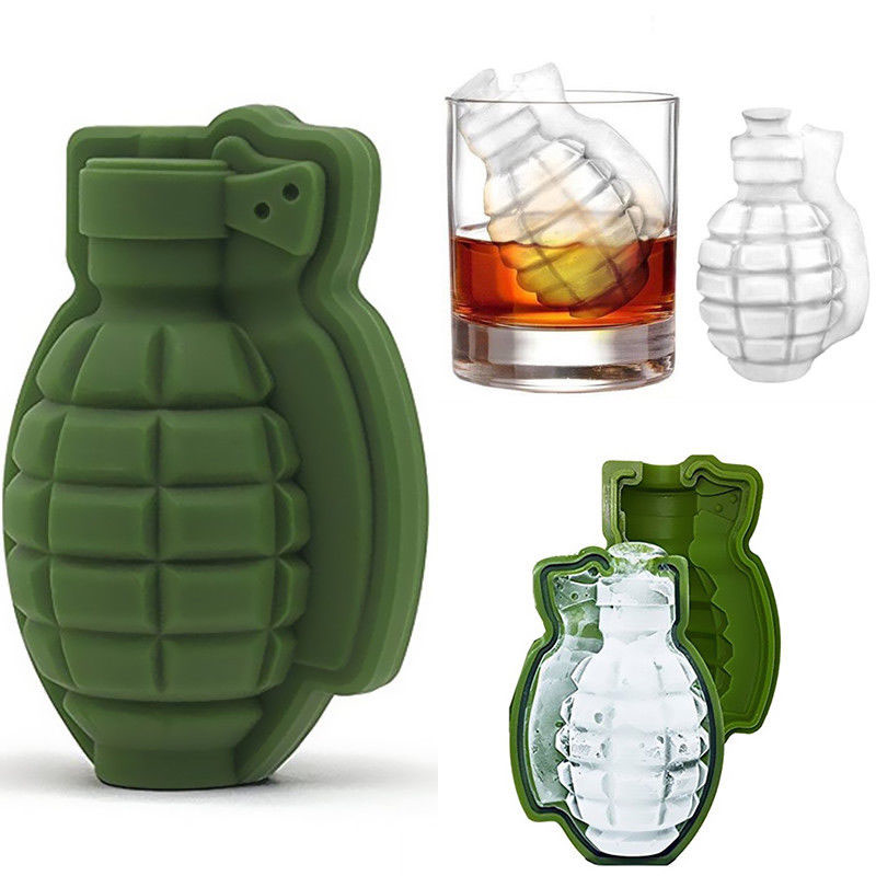 3D Grenade Shape Silicone Ice Cube Mould Creative Ice Tray Mould Freezer Box Whiskey Silicone Ice Machine Bar Accessoires