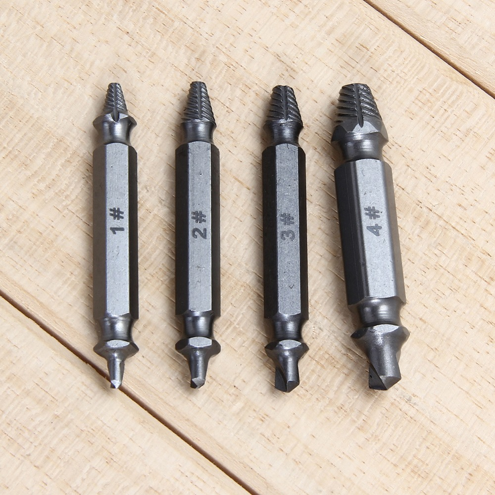 New 4pcs Carpenters Screw&Bolt Extractor Guide Drill Removal Broken Bolts Easy Out Double Side Bolt Stud Screw Extractors
