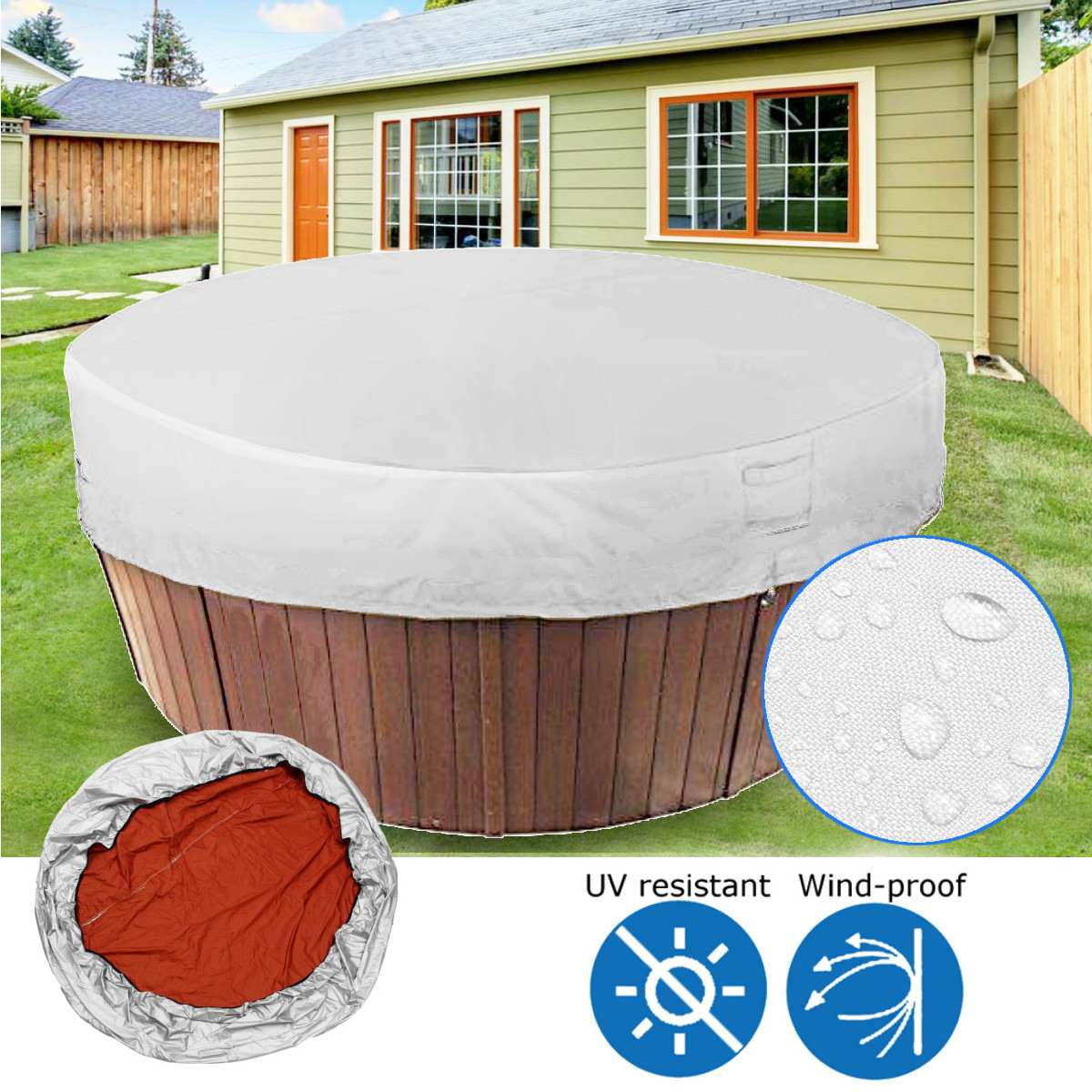 Bathtub Cover Hot Tub Weather Covers Shade Bath Tub Dust Cover Protector UV Proof Waterproof Spa Covers 2 Sizes Light Grey