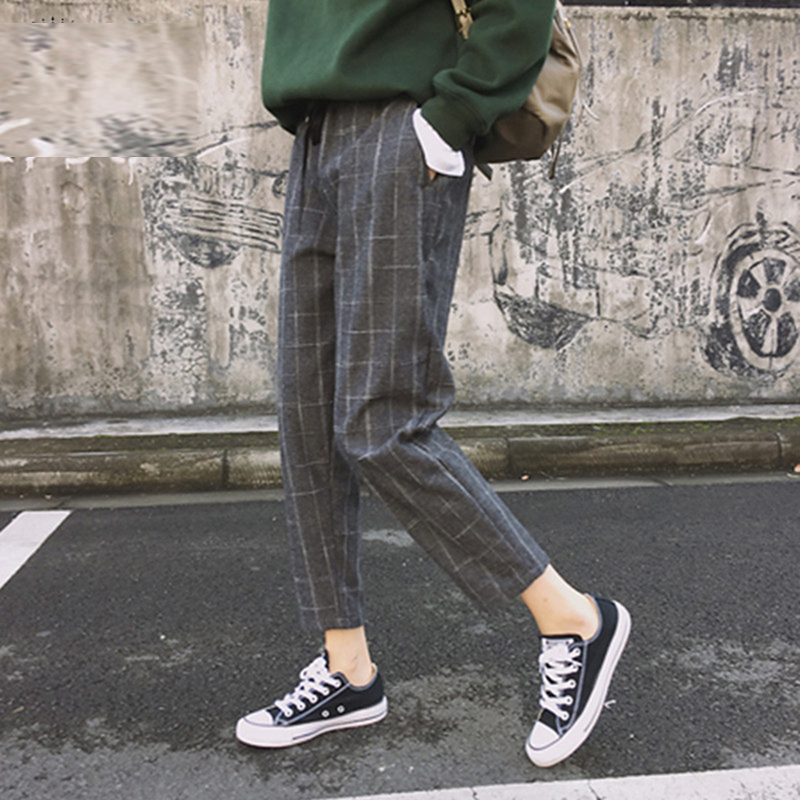 Bigsweety Vintage Plaid Harem Pants Harajuku 2020 Fashion Women Elastic Waist Trousers Korean Style Nine Pants Pantalon Femme
