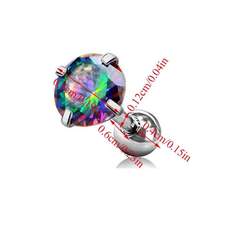 1PC נירוסטה קריסטל אוזן פירסינג עגול האף Stud טבעת EarringTragus פירסינג תכשיטי יוניסקס טרנדי Dummy פירסינג