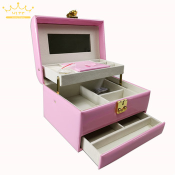 Latest European-style PU Leather Jewelry Box Portable Multi-layer Earring Necklace Storage Box Jewelry Storage Box Jewerly Box