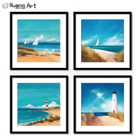 Artist Pure Hand Painted Lighthouse Sea Landsacpe Oil Painting for Room Decor Modern Boat Seascape Wall Art Acrylic Painting