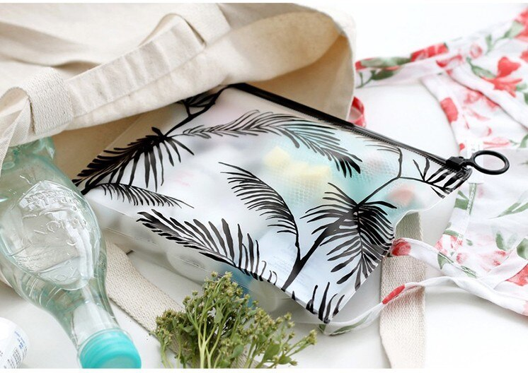 JODIMITTY Makeup Ziplock Storage Bag Pencil Case PVC Waterproof Toothpaste Toiletry Wash Pouch Cosmetic Bag Travel Organizer