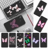 Bella custodia per telefono rosa fly color farfalla per Xiaomi Redmi mi note max 3 5 6 8 9 10 t S SE lite pro borsa morbida in Silicone per cellulare