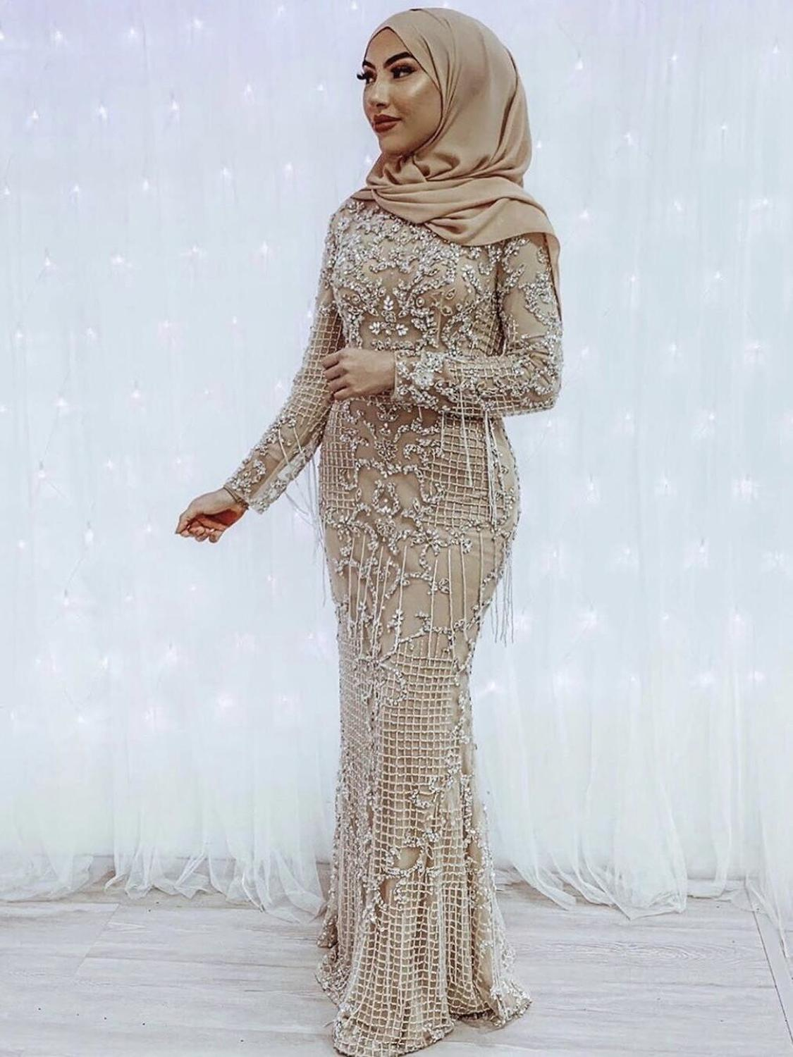 Party-Gown Beading Evening-Dress Sequined Dubai Serene Hill Long-Sleeves Formal Plus-Size