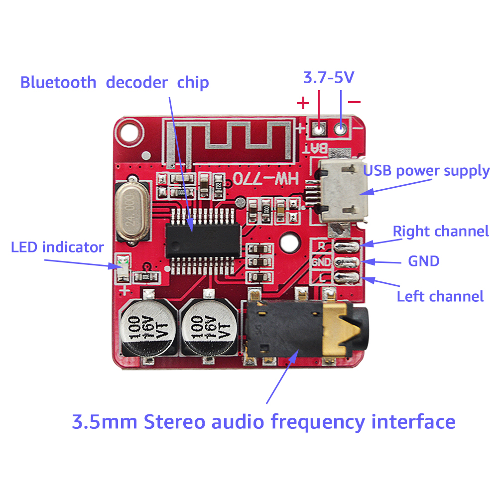 Closeout Deals3.7-5V MP3 Bluetooth Lossless Decoder Board Car Stero Speaker Amplifier Module Diy Audio Receiver Module 4.1