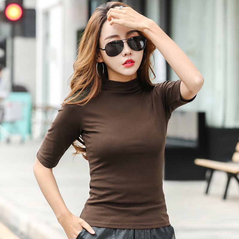 MRMT 2021 Brand Womens Half High Collar T-Shirt Mid-sleeved T Shirt For Female Woman Clothing New Thin Tops Womens T-shirts 1