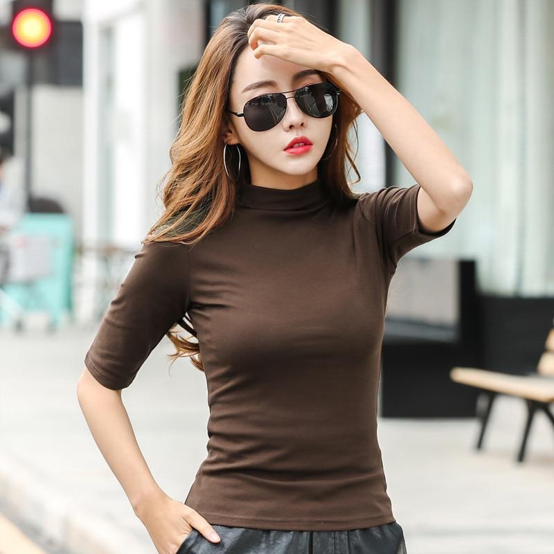 MRMT 2019 Brand Womens Half High Collar T-Shirt Mid-sleeved T Shirt For Female Woman Clothing New Thin Tops Womens T-shirts