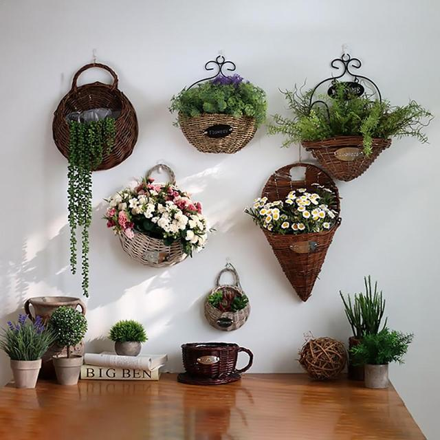 Wall Hanging Natural Wicker Flower Basket Flower Pot Planter Rattan Vase Basket Home Garden Wall Decoration Storage Container 3