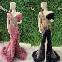 Aso Ebi 2020 Mermaid Evening Dress Plus Size Pink Black V Neck Off the Shoulder Prom Dresses Split African Formal Party Gowns