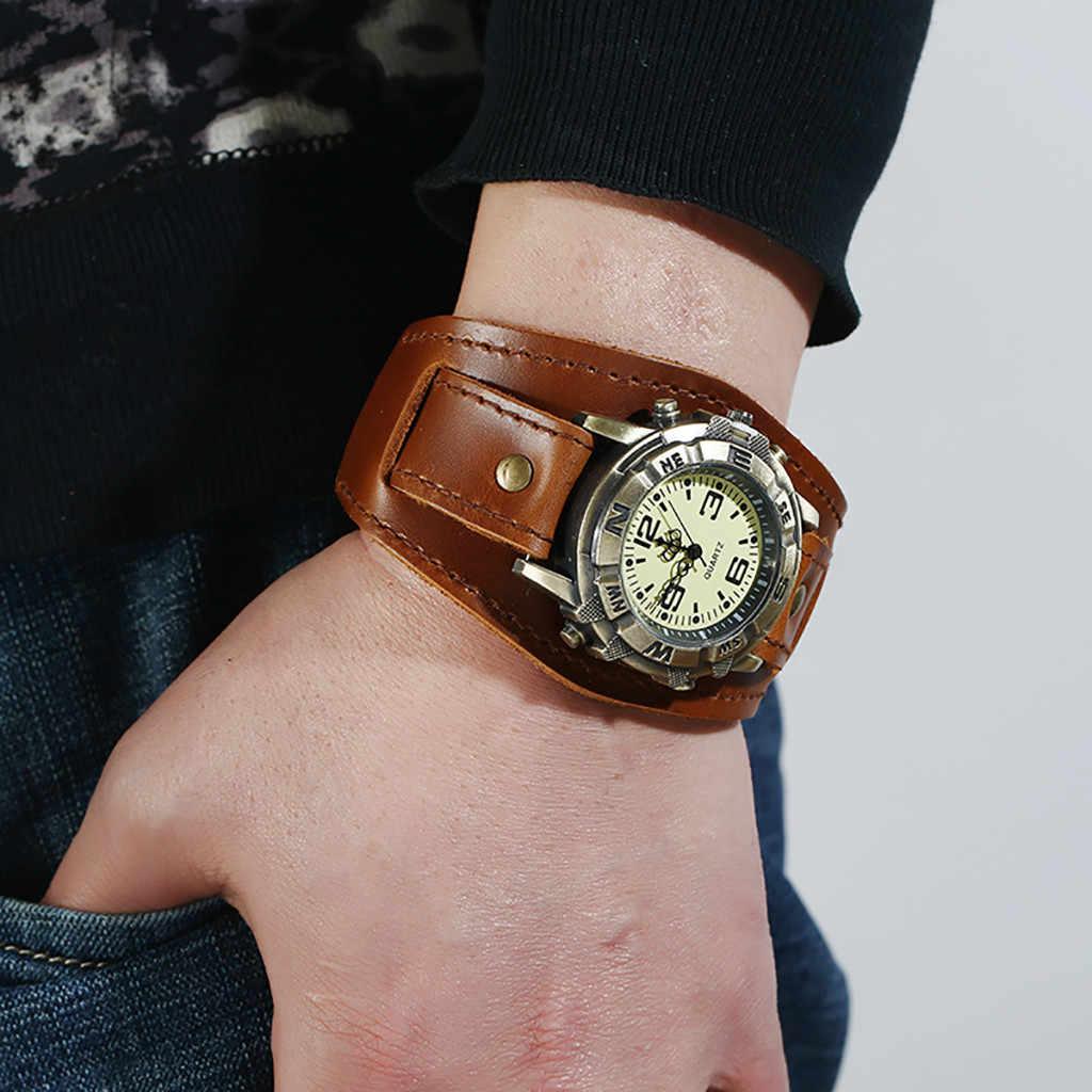 Retro Watch Relogio Masculino New Reloj Gaya Tren Retro Pria Punk Rock Coklat Besar Lebar Kulit Gelang Manset Pria tonton # A