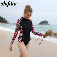 Anfilia Women' Long Sleeve Rash Guard Top Swimwear Print Rashguard Surfing Diving Shirts Swimsuit UPF 50+ Bathing Suit