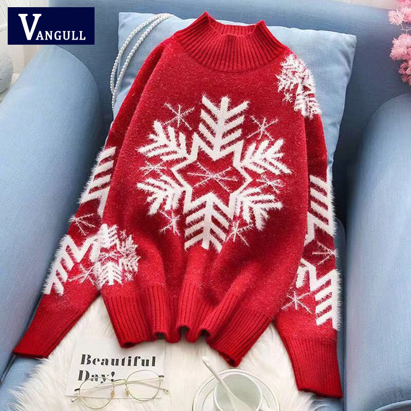Vangull Red Christmas Sweaters Snowflake Xmas Patterned Half-Turtleneck Knitted Pullover Women Long Sleeve Winter Warm Jumper