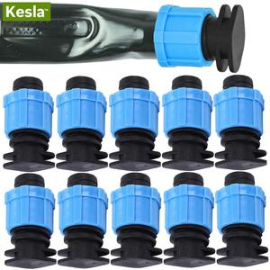 """KESLA 10PCS 16mm 5/8"""" Drip Irrigation Tape End Plug Pipe Fitting Connectors w Thread Lock for Garden Watering System Greenyhouse(China)"""