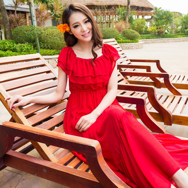 2018 Summer New Style WOMEN'S Dress Bohemian Ruffled Collar Solid Color Chiffon Skirt Beach Mopping Long Skirts