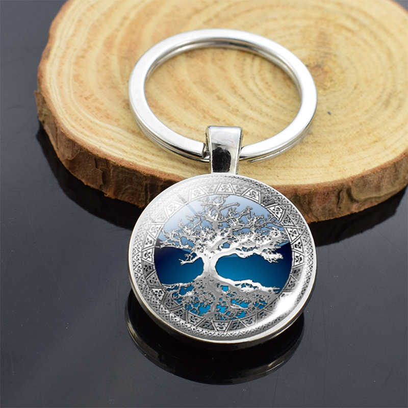 Tree of Life Keychain Art Life Tree Picture Glass Cabochon Double Side Keychain Keyring Car Key Holder Fashion Accessories