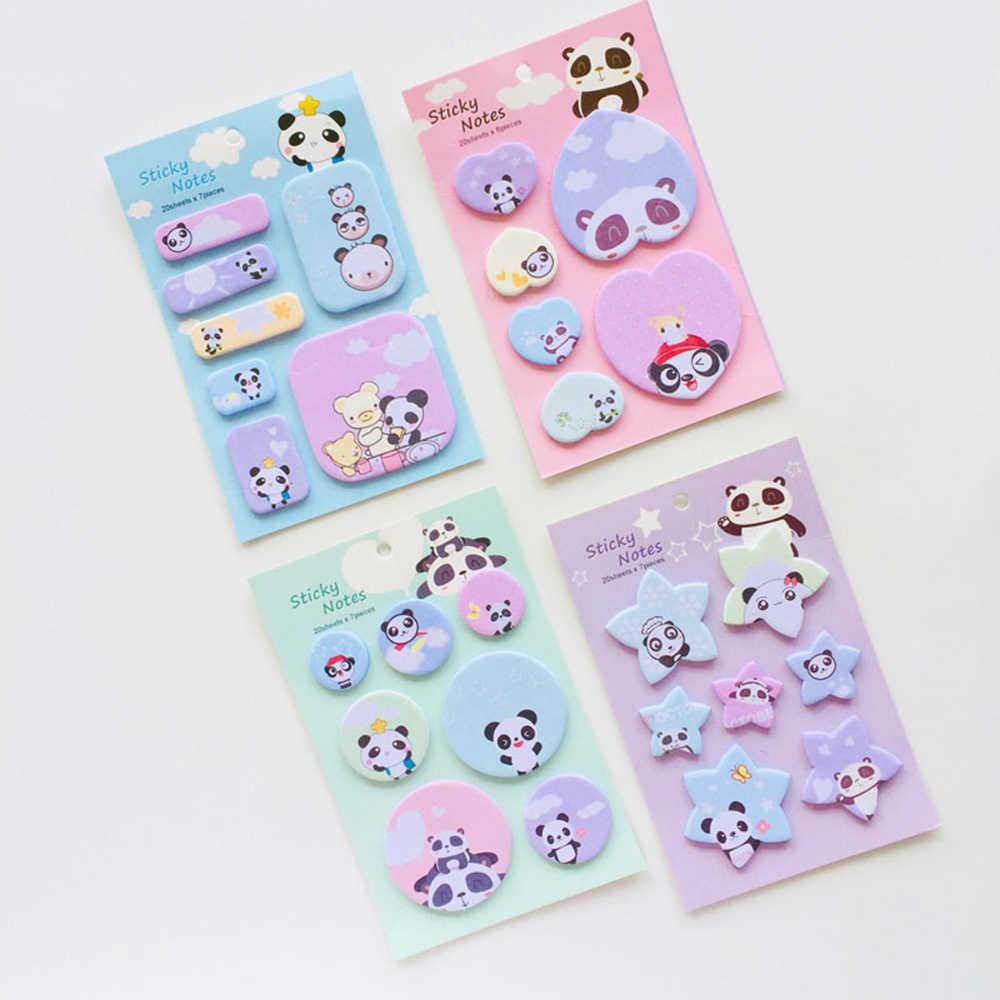 1 pièces mignon Panda famille Notes autocollantes bloc-Notes journal papeterie flocons Scrapbook décoratif Kawaii N fois collant