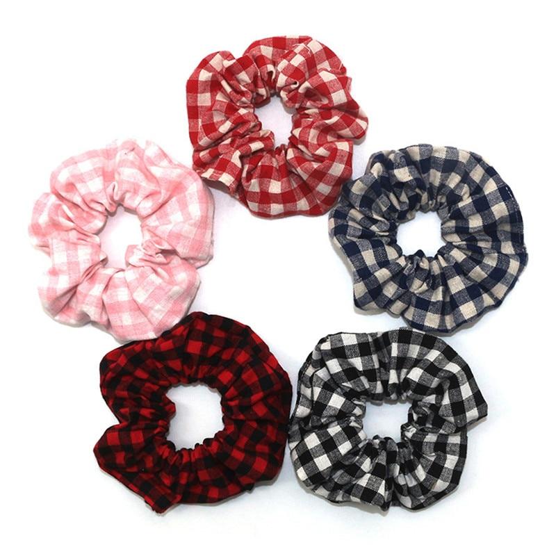 Free Shipping Fashion Women Plaid Printed Hair Bands Summer Hair Scrunchies Girl's Cute Accessories Vintage Ponytail Holder