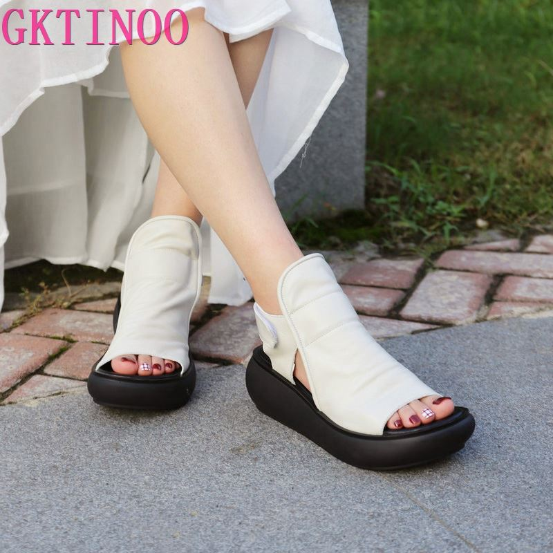 GKTINOO Summer Women Sandals Genuine Leather Platform Wedges Sandals Thick Sole Peep Toe Casual Shoes Women Walk Shoes Flats