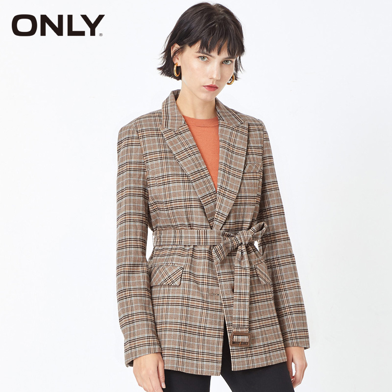 ONLY Winter Women  Cinched Waist Checked Blazer | 119308545