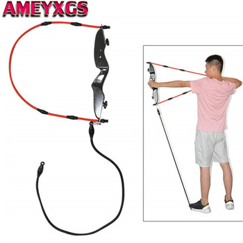 Archery Training Band Exerciser Rubber Band Trainer Puller Grip Wooden Bow Riser Elastic Rope For Hunting Practice Accessories