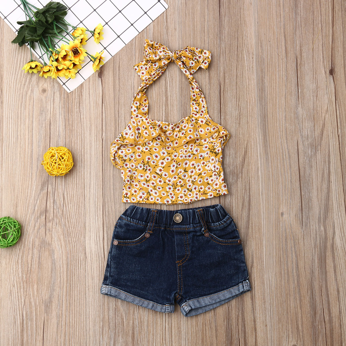 Emmababy Summer Toddler Baby Girl Clothes Flower Print Strap Tops Denim Short Pants 2Pcs Outfits Clothes Summer