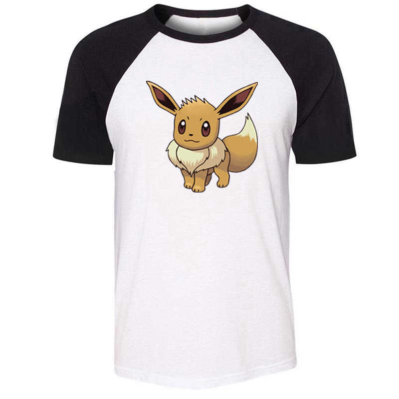 Cartoon Pokemon Eevee Jolteon Vaporeon Glaceon Design Mens Guys Printing T Shirt Graphic Tee Short Sleeve Cotton Tshirts Present